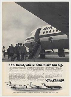 Air France Airlines VFW Fokker F28 Aircraft (1975)