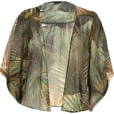 River Island Green palm tree print boxy kimono (3.965 HUF) ❤ liked on Polyvore featuring cardigans, sale and river island