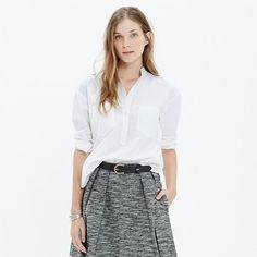 With its sleek hidden closures, effortless shape and shirttail hem, this tunic is a fresh, minimalist alternative to a traditional button-down. <ul><li>Slightly oversized fit.</li><li>Cotton.</li><li>Machine wash.</li><li>Import.</li><li>Madewell.com only.</li></ul>