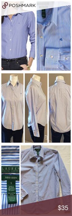 "Lauren Ralph Lauren Pinstripe Poplin Shirt Classic and crisp cotton shirt has a streamline fit that flatters for profession or casual wear. Treated with no-iron finish to maintain wrinkle free presentation all day. Gorgeous condition. Size Small, 19.5"" chest and 25.5"" length. Lauren Ralph Lauren Tops Button Down Shirts"