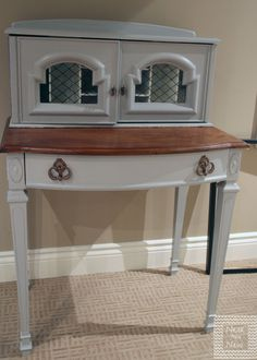 Vintage Secretary painted in SW Essential Gray and Walnut stain