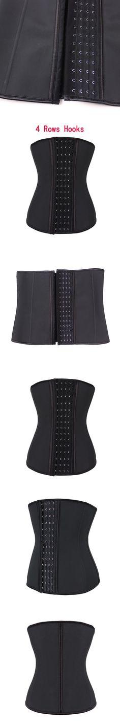 Brand New 4 Row Hooks Women Latex Corset Slimming Body Shaper Bustier Steel Boned Waist Trainer Corsets Black Plus size Cincher