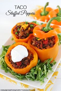 Spice up taco night, everyone's favorite, with these baked bell peppers! Taco meat seasoned with the usual spices plus Ro-tel diced tomatoes and green chiles is stuffed into peppers with rice and cheddar cheese for a zesty, delicious twist on tacos. They're ridiculously easy to make even on a busy week night plus they freeze...Read More