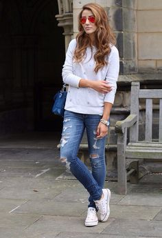 Ripped Jeans . Converse . Style . Fashion. I wouldnt wear ripped jeans though.