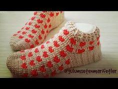 Örgü çorap yapımı ( Örgü patik çorap yapımı 2 devamı, booties) crochet shoes - YouTube