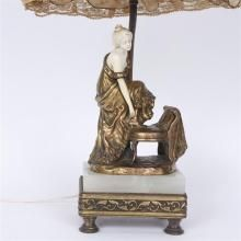 Austrian bronze and ivory figure boudoir lamp Signed P.Tereszczuk (1875-1963); a woman adjusting her shoe.