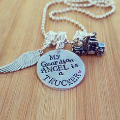 My Guardian Angel Is A Trucker - Highway Angel - Truck Driver - Hand Stamped Trucker