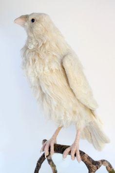 Needle Felted White Raven, Leucistic Raven, Raven Sculpture, Large Raven Sculpture