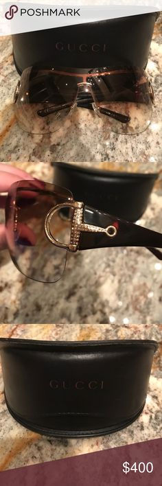 Gucci sunglasses These Gucci sunglasses are frameless and have rhinestone sides. They have been worn but have little to no damage. They come in the original case. Gucci Accessories Sunglasses