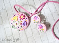 Pastel pink romantic flowers - Polymer clay jewelry set - Sweet flowers - Pink jewelry set - Perfect gift ideas