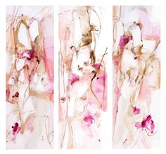 """Hope everyone is having a great week! I've been deep in my paints as of Monday with a new body of work headed to @bennettgalleriesnashville soon. New work is inspired by all the romantic-minty colors of San Francisco! """"Tibetan Garden"""" 3-20x60 panels on canvas via @efgallery ✨#limtedpalettelove"""