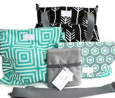 Diaper Bag Gift Set - Black Arrow Diaper Bag - Wet Bag - Diaper Clutch - Travel Pad - Messenger Strap