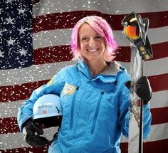 U.S. Olympic skier-Shannon Bahrke competes in freesyle skiing moguls.