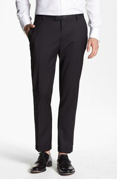 Topman Slim Fit Tuxedo Trousers available at #Nordstrom is an example of what was seen all over Spring/Summer 2014 Fashion Week. Rolling up dress pants is becoming more and more common along with short socks so the ankle can be seen. Jaden J.
