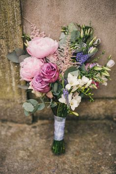 pink peony and rose bouquet - Read more on One Fab Day: http://onefabday.com/trudder-lodge-wedding-by-this-modern-love/