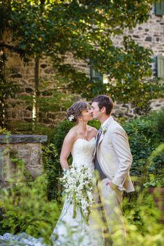Romantic portrait of bride and groom in the garden | Tyler Arboretum Wedding by Ashley Gerrity Photography