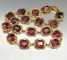 Vintage Purple Glass Gold Gilt 1930s Art Deco Necklace | Boylerpf