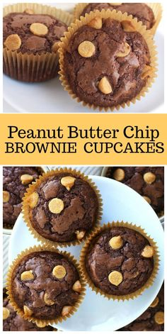 Easy Peanut Butter Chip Brownie Cupcakes recipe from RecipeGirl.com #peanutbutter #brownies #cupcakes #recipe via @recipegirl