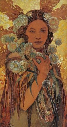 Native American Woman with Flowers and Feathers, by Alfons Mucha