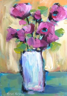Pink Poppies Floral Contemporary Original Acrylic Flower Painting  5x7