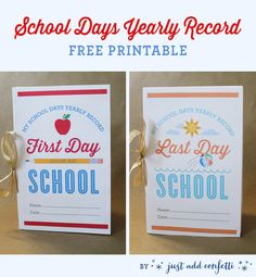 Such a cute way to keep track of your kids' milestones on the first and last days of school! Free printable included!   Just Add Confetti for Just a Girl and Her Blog