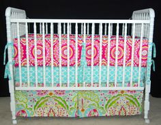 Crib bedding in Kumari Garden Crib skirt bumper by LavenderLinens, $253.00