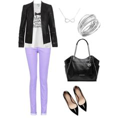 Leather jacket and lilac jeans