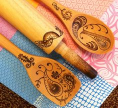 Burned wood spoons - something I want to try and make. They're so pretty!!
