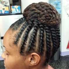 Flat Twist to Twisted Bun Protective Style
