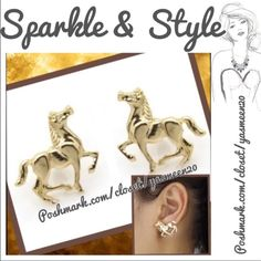 Gold tone horse earrings  Pretty soft gold tone zinc alloy horse earrings. NEW 2 pairs available Jewelry Earrings