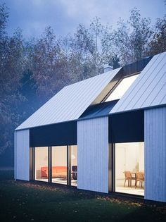 Beautiful modern prefab home that reflects the Swedish vernacular house with its gabled roof shape designed for a couple or family by Claesson Koivisto Rune Architecture Durable, Residential Architecture, Amazing Architecture, Architecture Details, Wood Architecture, Sustainable Architecture, Modern Barn, Modern Farmhouse, Roof Design