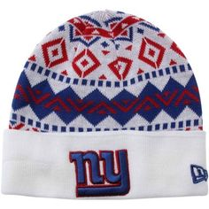 pretty nice d458e 08047 New Era New York Giants Ivory Cuffed Knit Beanie - White Royal Blue Red