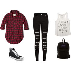 black by karenvanessa1d on Polyvore featuring moda, Abercrombie & Fitch, Wet Seal, Converse and JanSport