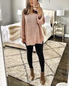 Casual Fall Outfits for Women- Winter Outfits for Women Komplette Outfits, Cute Fall Outfits, Fall Winter Outfits, Casual Outfits, Fashion Outfits, Winter Sweater Outfits, Black Jeans Outfit Winter, Comfortable Outfits, Black Leggings Outfit Fall