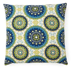 One Kings Lane - Live Outdoors - Medallions 20x20 Outdoor Pillow, Green