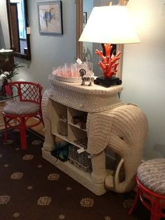 vintage wicker elephant bar
