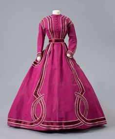 Raspberry Dress with White Beads Marie and Josephine Virfolet, New York City Ribbed silk, silk. 1800s Fashion, 19th Century Fashion, Victorian Fashion, Vintage Fashion, Victorian Era, Vintage Outfits, Vintage Gowns, Vintage Mode, Pretty Dresses