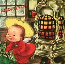 Vintage Christmas Capers Greeting Card Charlot Byj Cherub Pot Belly Stove EB6027