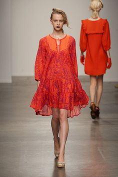 See the entire collection from the Ivana Helsinki Spring 2014 Ready-to-Wear runway show. Spring 2014, Spring Summer, Summer 2014, Coral Orange, Marimekko, Helsinki, Ready To Wear, Cover Up, Stylish
