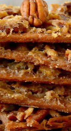 Pecan Praline Pie Bark ~ So easy, so delicious. Tastes like a cross between gooey pecan pie and melt-in-your-mouth pralines. This Pecan Praline Pie Bark tastes like a cross between gooey pecan pie and melt-in-your-mouth pralines. So easy, so delicious! Pecan Recipes, Candy Recipes, Sweet Recipes, Holiday Recipes, Cookie Recipes, Christmas Recipes, Saltine Cracker Recipes, Best Homemade Cookie Recipe, Homemade Candies