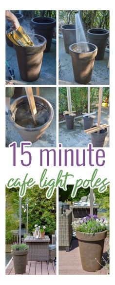 Backyard Projects, Backyard Patio, Patio Decks, Outdoor Projects, Backyard String Lights, Poles For Outdoor Lights, Outdoor Planters, Planter Pots, Outdoor Patios
