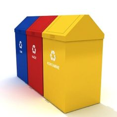 By putting recycle bins in your area, you get to be the change the world expects you to be. These containers right here do great in their field. They are made of sheet metal, and they have some uber-nice powder coating finish. Each set could contain as much as 336 liters of recyclable materials.