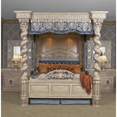 Bedroom Furniture:Italian Renaissance Bedroom Furniture The Renaissance Canopy Bed Cal King Canopy Bedroom, Bedroom Sets, Dream Bedroom, Master Bedroom, Bedding Sets, Queen Bedroom, Modern Bedroom Design, Contemporary Bedroom, Bed Design