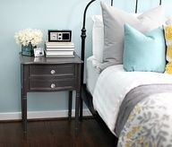 Mini Source List: Paint color: Martha Stewarts Artesian Well // Bed: IKEA // Mirror: Target // Dresser: IKEA // Lamp: Home Goods // Sheets  Duvet: Tuesday Morning // Gray Quilt: Target // Large Gray Pillows: Target // Rosette Throw Pillow: Target // Blue Throw Pillows: the long lost Nate Burkus Collection at LNT // Yellow + Gray Quilt: Target // Frames above bed: Target //