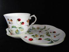 James Kent Strawberry cake plate and cup