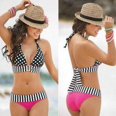 Vestido de Baño Bikini Halter de Puntos para Mujer Negro y Fucsia Beach Fashion, Cute Bikini, Sexy Bikin