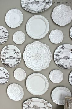 I LOVE the wall color in this dining room. -- A New Decorative Plate Wall for Our Dining Room: Driven by Decor.