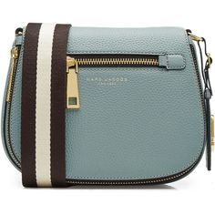 Marc Jacobs Leather Shoulder Bag ($449) ❤ liked on Polyvore featuring bags, handbags, shoulder bags, blue, blue leather purse, genuine leather handbags, marc jacobs purse, green leather handbag and blue purse