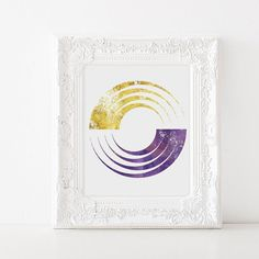 Gold Geometric Art  Abstract Geometric Art  Purple by ModPopDeco