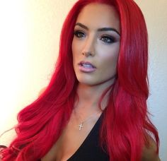 Eva Marie's bright red hair and makeup style looks awesome but I love Eva Marie herself! Hair Colorful, Bright Red Hair, Red Hair Don't Care, Big Chop, Great Hair, Hair Dos, Gorgeous Hair, Pretty Hairstyles, Dyed Hair